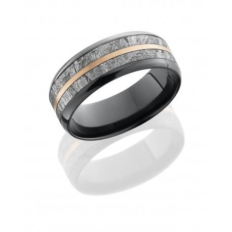 Black Zirconium, Meteorite, & Rose Gold Band