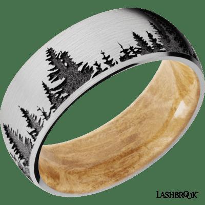 Cobalt Chrome Treeline Engraving & Hardwood Sleeve Band
