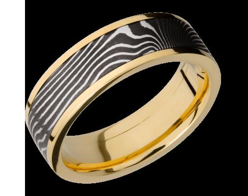 Damascus Steel & Yellow Gold Band