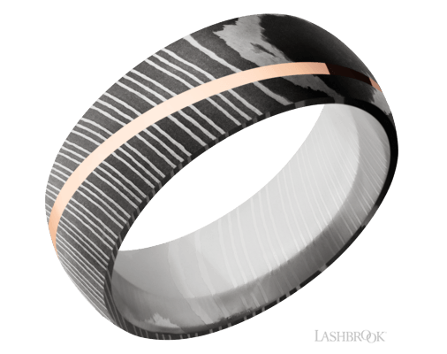Damascus Steel & Rose Gold Band