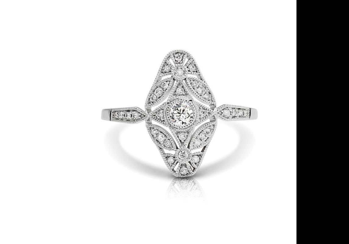 Oval Diamond Filigree Ring