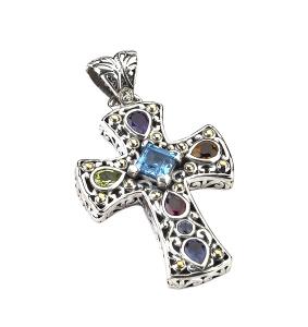 Colored Gemstone Cross Pendant