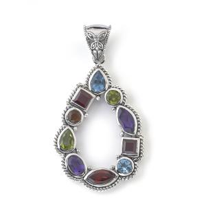 Colored Gemstone Open Drop Pendant