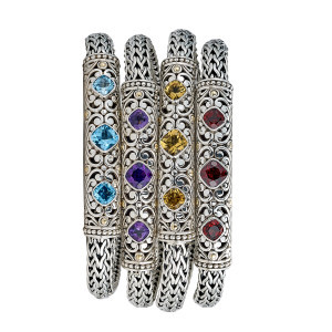 Woven Floral Colored Gemstone Bracelets